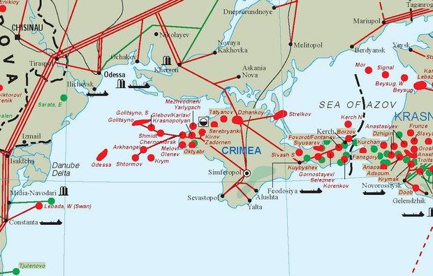 Одесское месторождение - крайнее слева красное пятно, Голицинское - северо-восточнее
