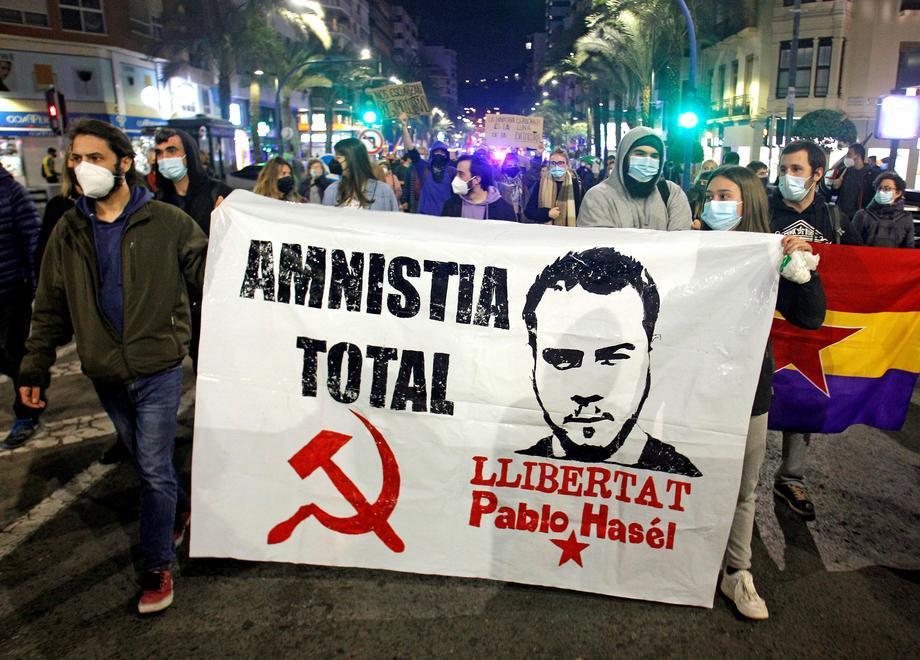 Марш на підтримку ув'язненого репера Пабло Хаселя в Аліканте, Іспанія, 17 лютого 2021