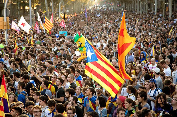 Всеобщая забастовка в Барселоне, 3 октября 2017.