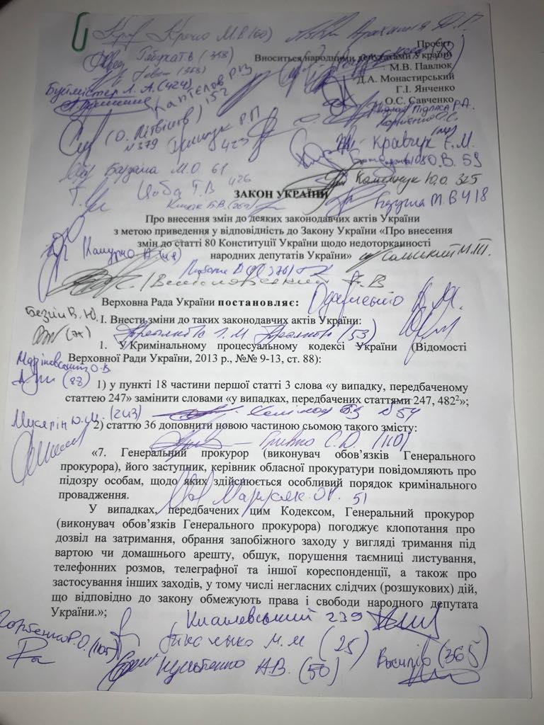 Первая страница законопроекта об отмене депутатской неприкосновенности