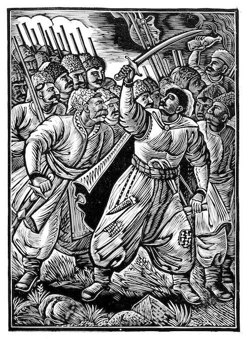 Іван Падалка, ілюстрація до поеми Енеїда, 1931, дереворит