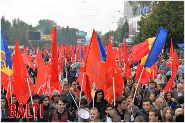 Акция протеста в городе Бельцы, Молдова
