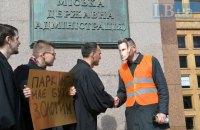 Картонный Кличко позолотил паркоместа на месте будущего паркинга на Михайловской площади в Киеве