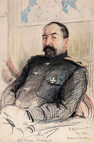 Портрет контр-адмірала Д.В.Ненюкова. 1916. Папір, сангіна, італійський олівець, кольорові олівці. 43,5х29