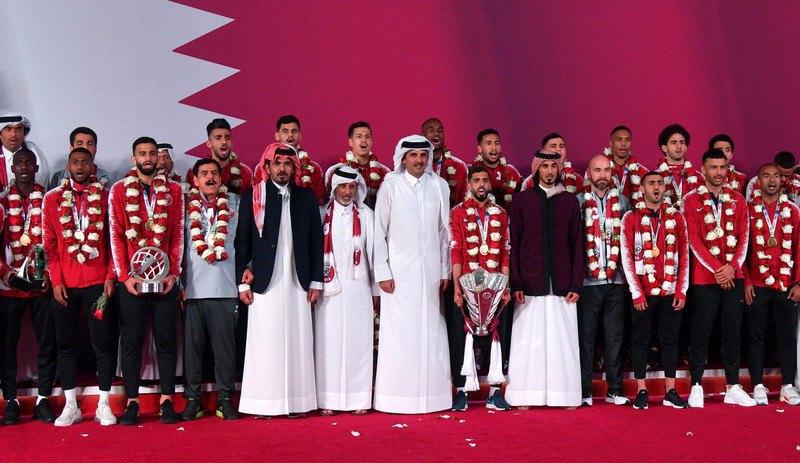 Эмир Катара Тамим бин Аль Тани приветствует национальную команду с победой в Кубке Азии