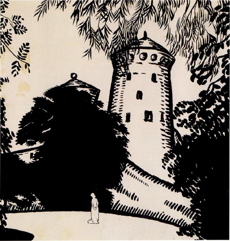О.Богомазов «Жіноча фігура на тлі замку. Фінляндія» (колекція Григоришина)