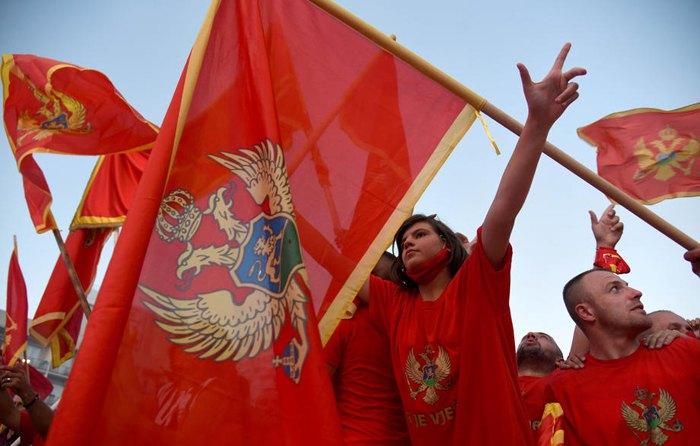 Послевыборный патриотический митинг в Подгорице, Черногория, 6 сентября 2020 года.