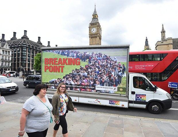 Плакат, агитирующий голосовать за выход из ЕС в Лондоне