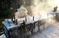 В Полтавской области горел состав с кругляком
