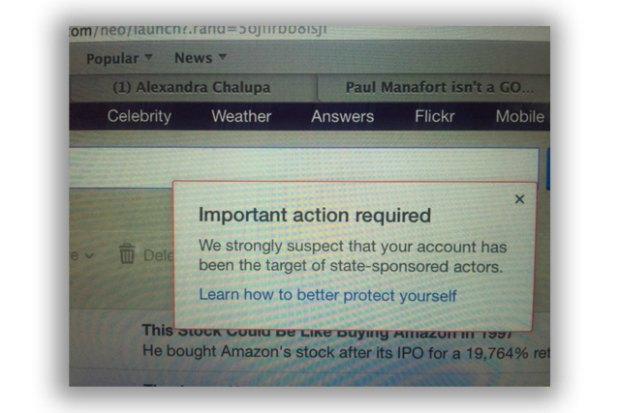 Предупреждение от Yahoo о взломе