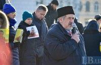На Майдане прошла акция в поддержу задержанного адвоката Эмиля Курбединова
