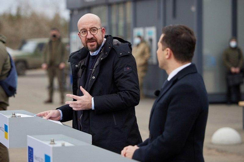 Президент Евросовета Шарль Мишель и президент Украины Владимир Зеленский