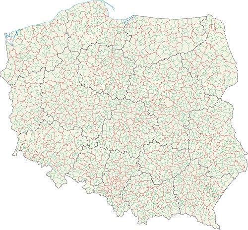 Карта гмін Польщи(зелений колір)
