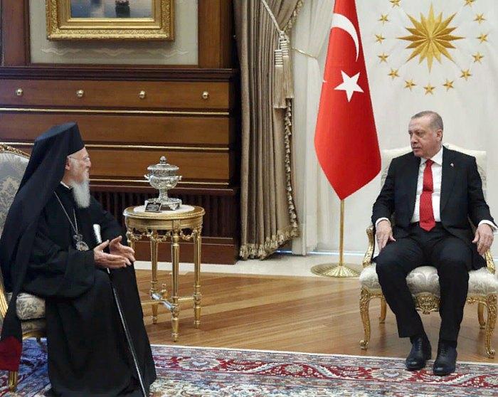 Президент Турции Реджеп Тайип Эрдоган и Вселенский Патриарх Варфоломей