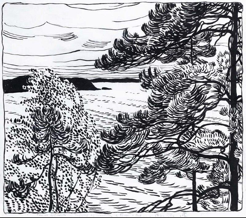 О.Богомазов «Фінський пейзаж. Сайма шуміла» (колекція Едуарда Димшиця, 1911)