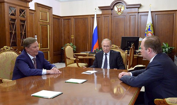 Владимир Путин встречается с Сергеем Ивановым и Антоном Вайно в Кремле, 12 августа 2016 года