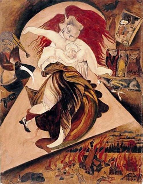 Иссахар-Бер Рыбак. Из серии «Погром в Киеве», 1923 (изображается киевский погром 1919 года, в котором погиб отец художника)