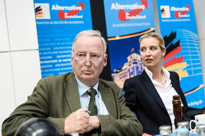 Лидеры партии «Альтернатива для Германии» (AfD) Алиса Вейдель и Александр Гауланд перед началом заседания парламентской группы АдГ в Берлине, 12 июня 2018.