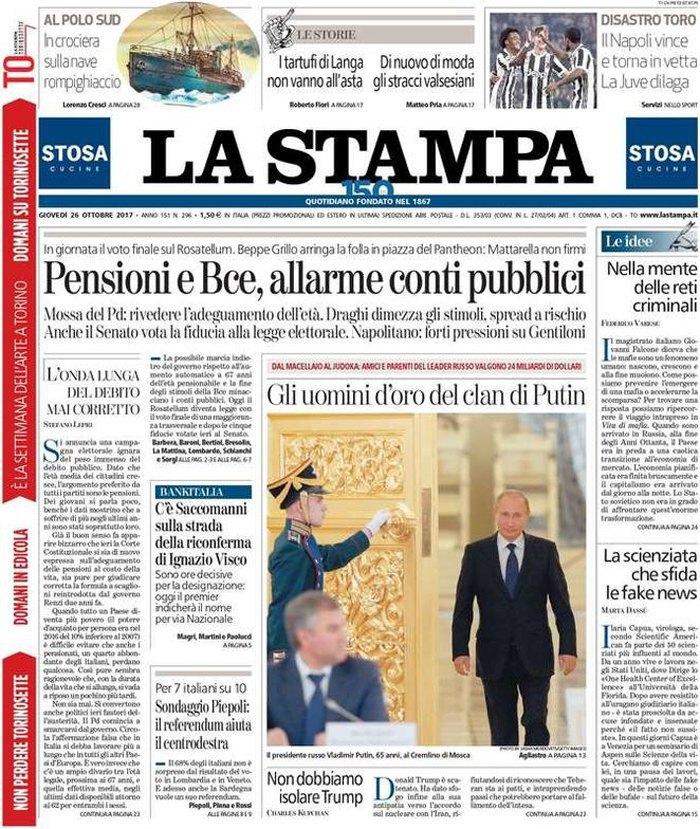 Обложка итальянская газеты La Stampa от 26 октября 2017