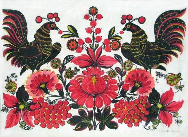 Півні у квітах. 1962 р. папір, гуаш, темпера