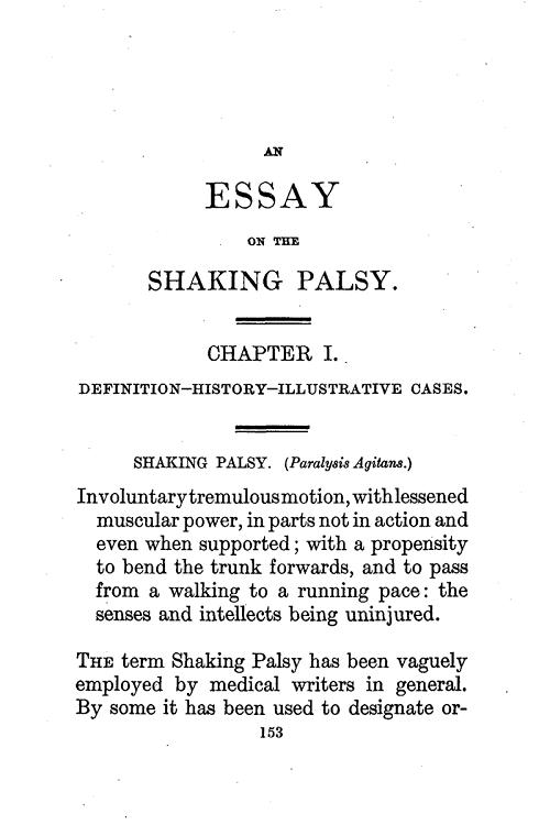 """Перша сторінка """"Есе про тремтливий параліч"""" Джеймса Паркінсона"""