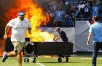 В США перед футбольным матчем на поле вспыхнул пожар