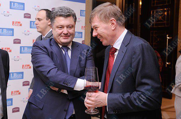 Губернатор Кировоградской облгосадминистрации Сергей Ларин и Петр Порошенко