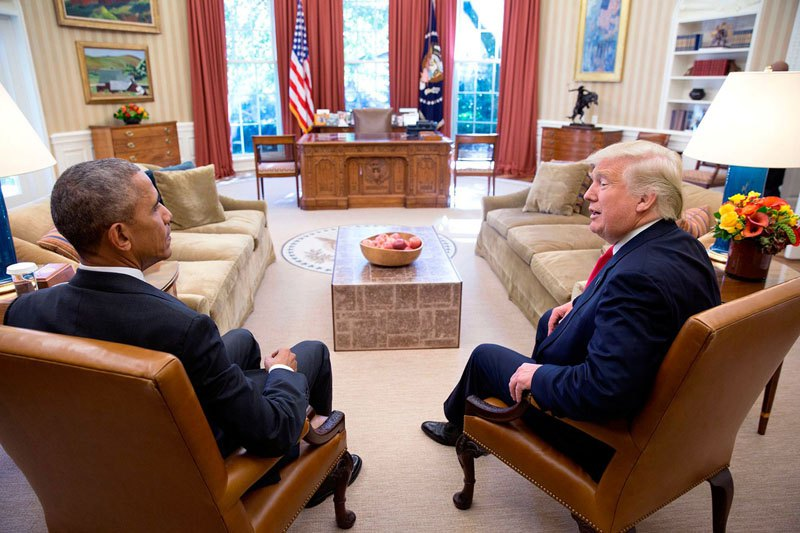 Барак Обама с новоизбранным президентом США Дональдом Трампом. 10 ноября 2016 года