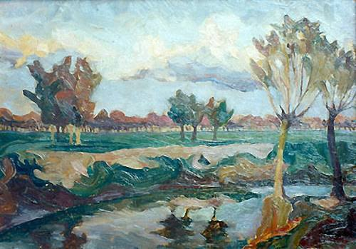 «Річка Бистриця». 1926. Картон, олія
