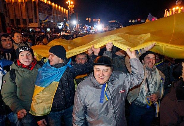 Объединение Майданов вечером 26 ноября