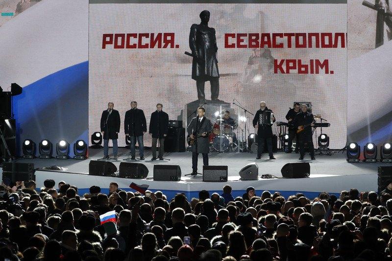 Концерт в честь четвертой годовщины аннексии Крыма Россией на площади Нахимова в Севастополе, Крым, 14 марта 2018