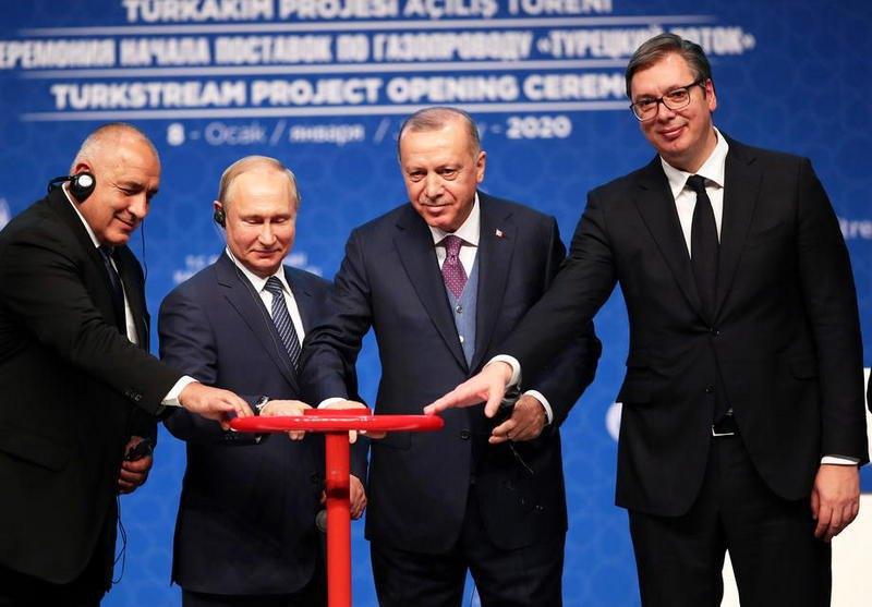 Премьер Болгарии Бойко Борисов, президент России Владимир Путин, президент Турции Реджеп Эрдоган и президент Сербии Александар Вучич
