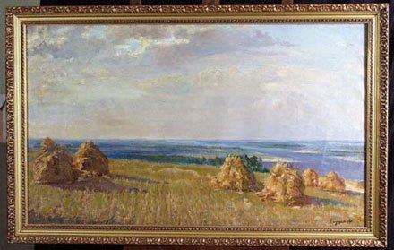 Картина «Днепровские дали». Снимок сделан перед передачей картины в Кабмин в 2001 году