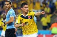 Колумбия, обыграв Уругвай, впервые пробилась в четвертьфинал ЧМ