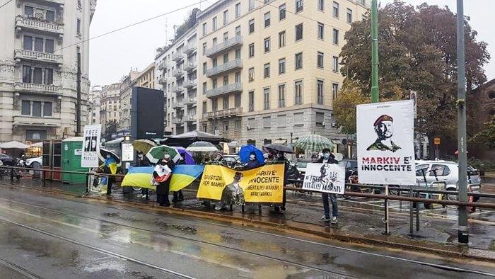 Акція підтримки Віталія Марківа перед будівлею суду Мілана, 15 жовтня 2020