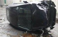 В Киеве с развязки на Выдубичах упал автомобиль