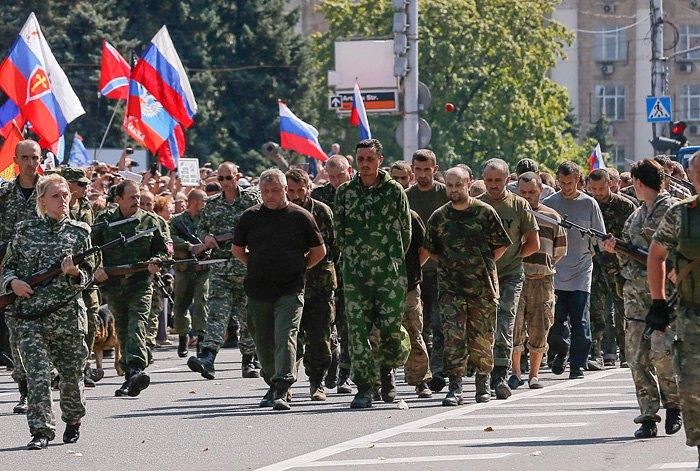 Марш українських військовополонених в Донецьку, 24 серпня 2015.