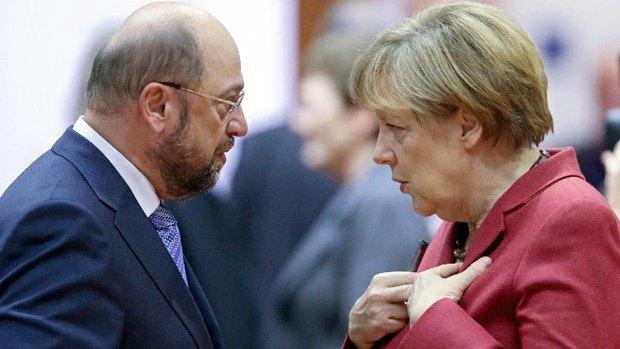 Канцлер Ангела Меркель и лидер СДПГ Мартин Шульц