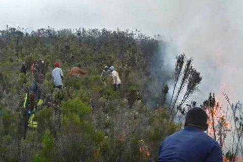 Самую высокую гору Африки Килиманджаро охватил пожар
