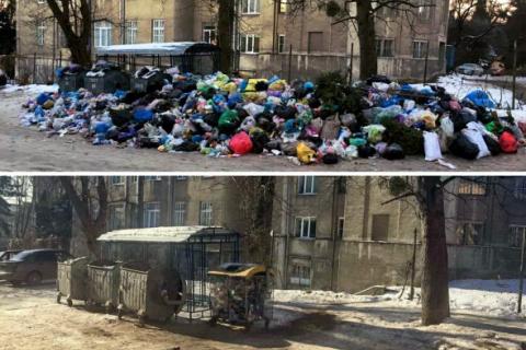 Из Львова начали вывозить мусор