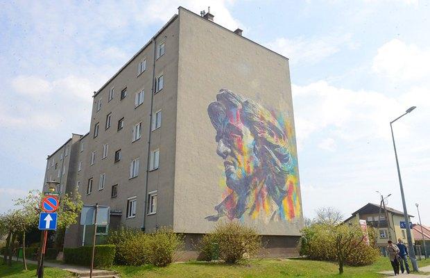 Мурал, на якому зображений Шопен в польському містечку Сулехув