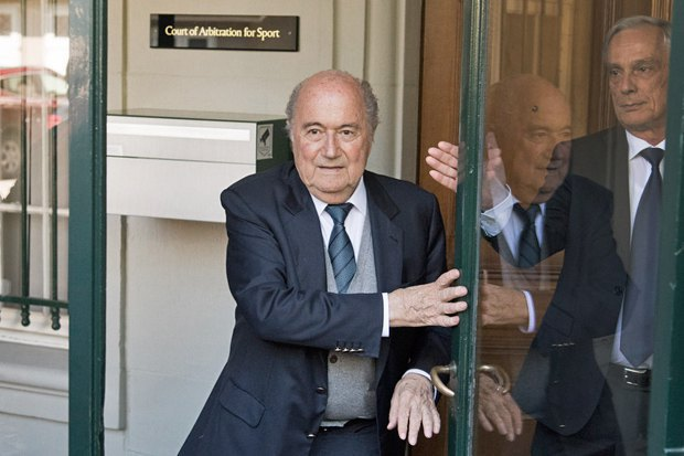 Sepp Blatter leaving the Court of Arbitration for Sport (CAS) in Lausanne, Switzerland