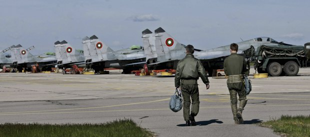 MiG-29 of the Bulgarian Air Force Bulgaria on a base