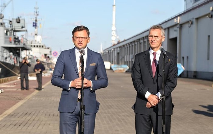 Ukrainian Deputy Prime Minister for European and Euro-Atlantic Integration Dmytro Kuleba and NATO Secretary General Jens Stoltenberg at a joint briefing in Odesa