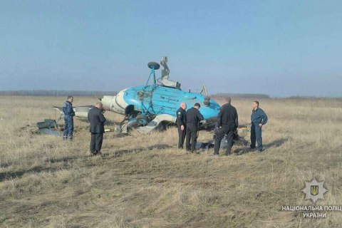Helicopter falls during aerial spraying in Poltava Region