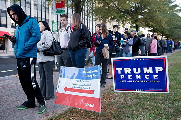 A queue at a polling station to cast ballots in the US presidential election