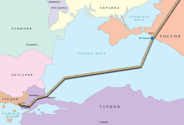 The planned route of the pipeline to be laid under the Black Sea from Russia's Anapa district to Turkey.