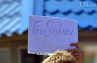 Rally in support of Sentsov held outside Russian embassy in Kyiv