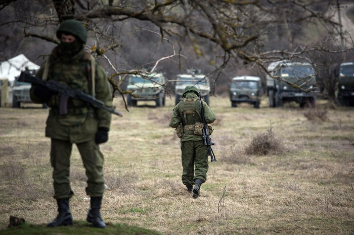 'Little green men' in Perevalne, Crimea, March 2, 2014