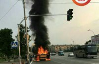 Driver hurt as Brovary shuttle bus catches fire